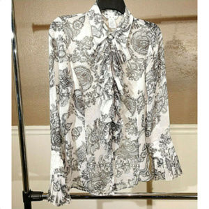 CAbi sz S black white button down ruffle blouse